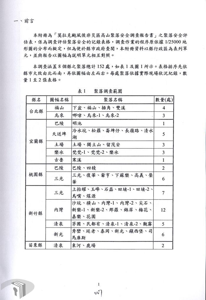 莫拉克颱風災區非災區高山聚落安全調查附冊聚落安全評估表(聚落調查範圍)