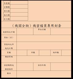 圖2 機密檔案專用封套參考格式