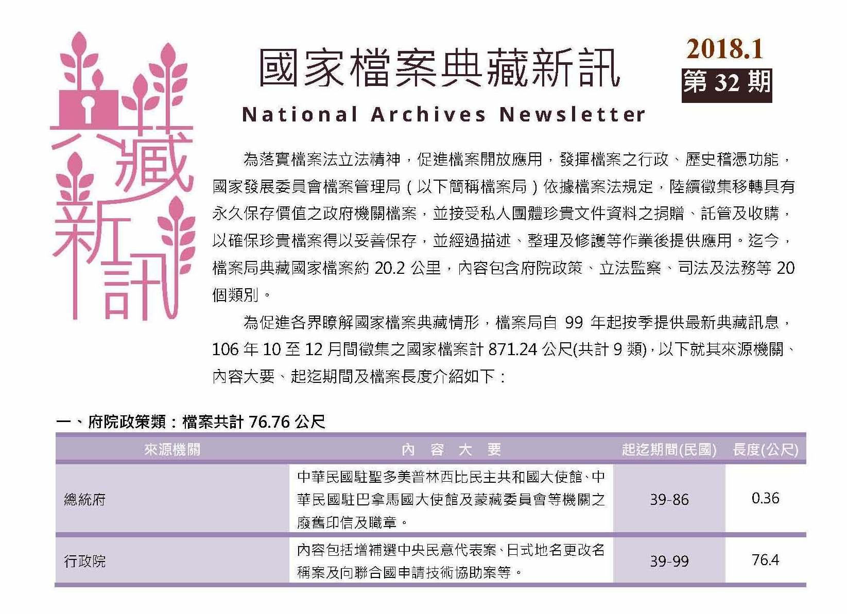 「國家檔案典藏新訊」第32期出刊