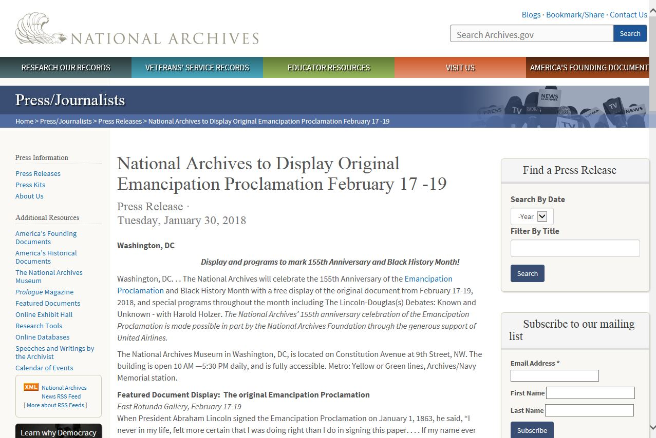 美國國家檔案暨文件署展示解放宣言
