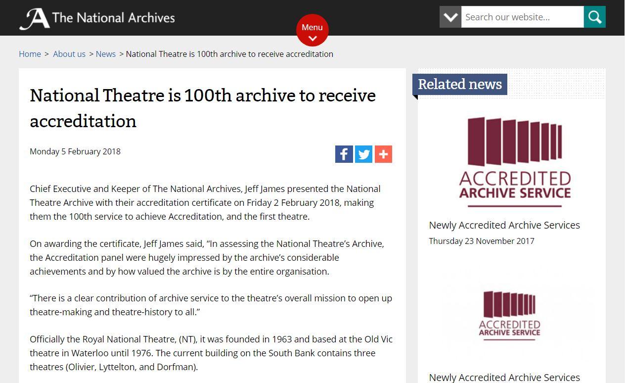 英國國家劇院獲得檔案服務認證