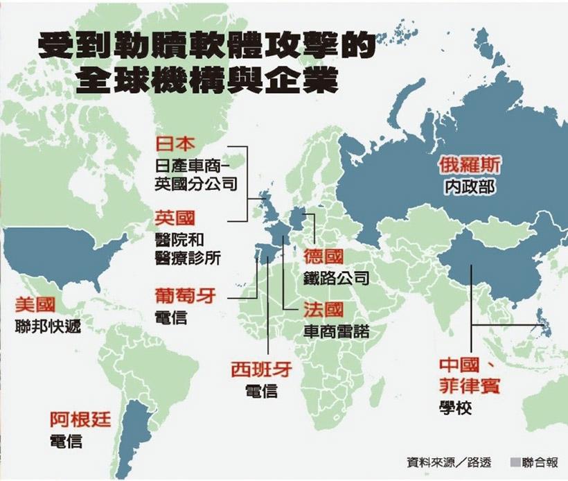 曾經受到勒索軟體攻擊的全球機構與企業 圖片出處:聯合新聞網