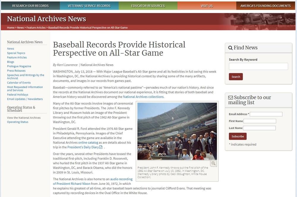 美國昔時職棒大聯盟明星賽檔案推廣訊息