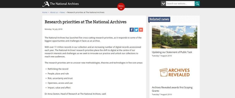 英國國家檔案館公布國家檔案研究重點