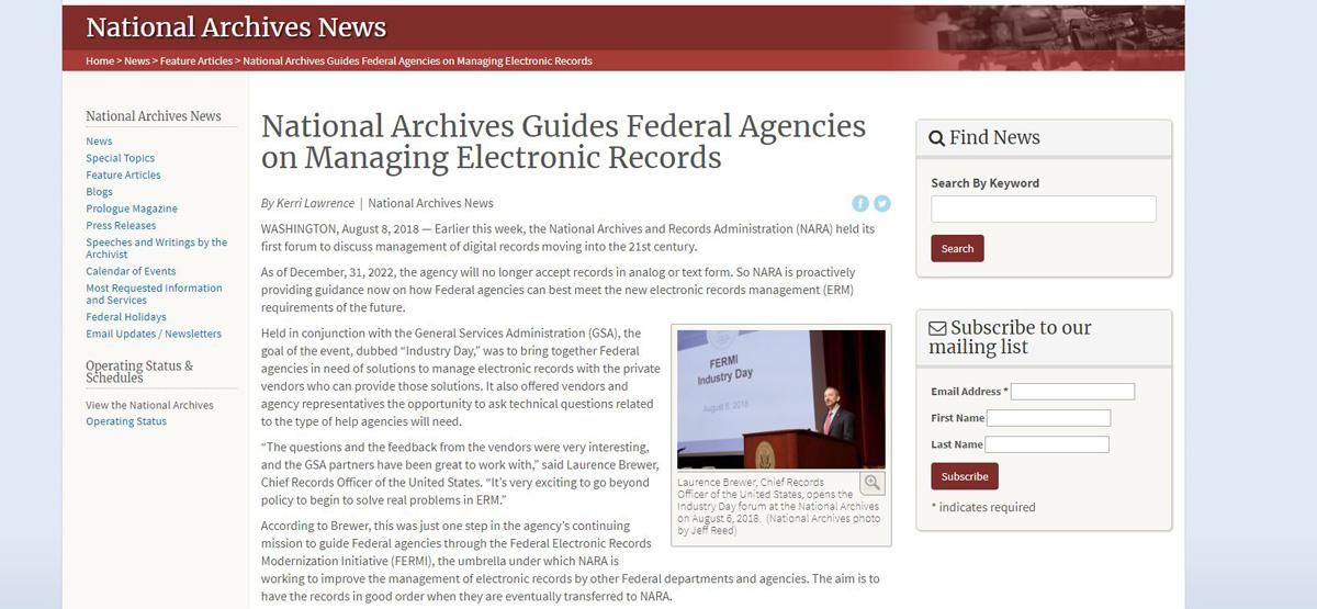 美國政府與產業共商電子檔案管理課題