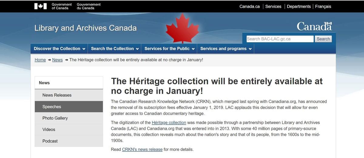 加拿大國家檔案館免費提供文獻遺產史料