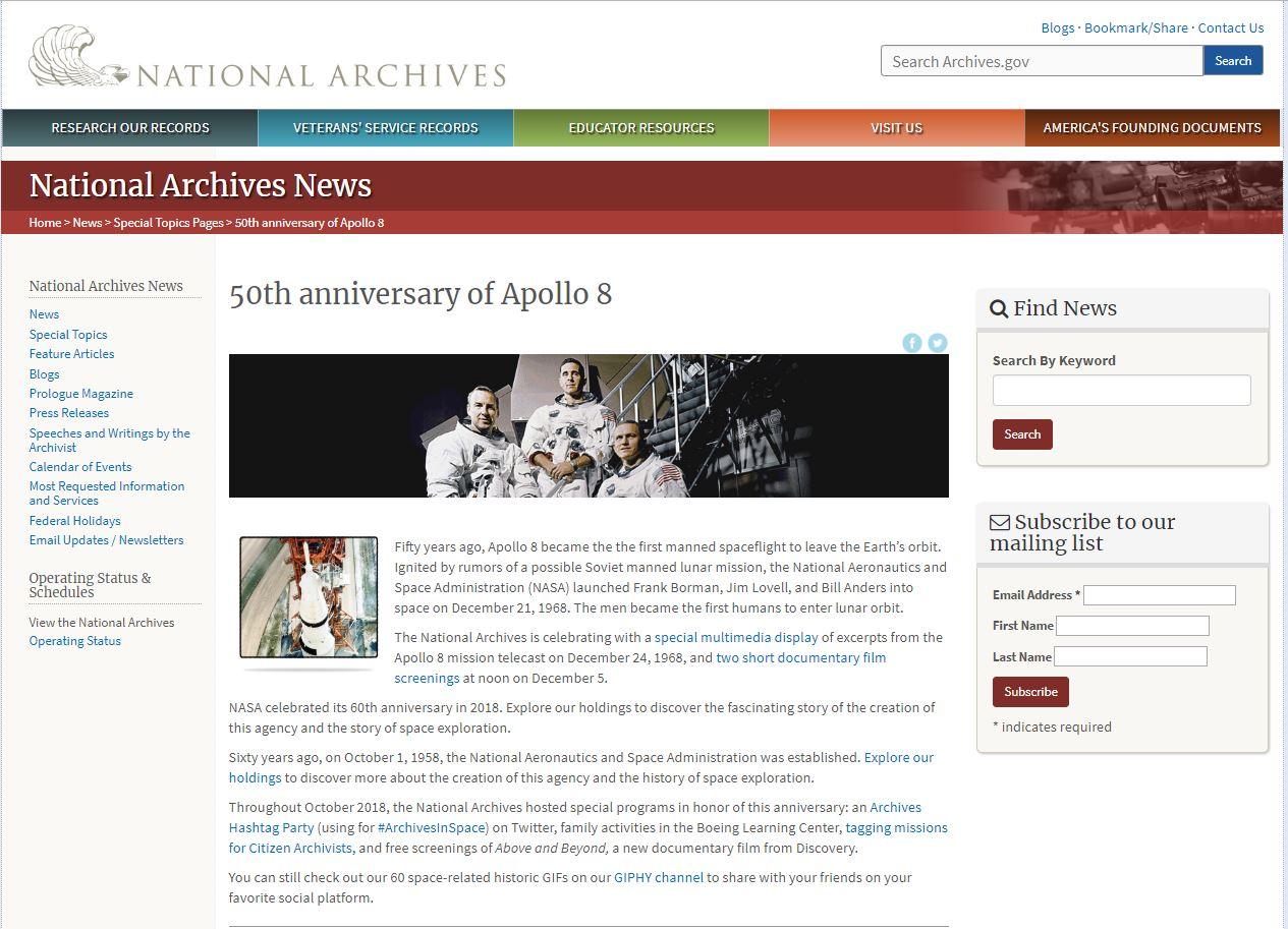 「阿波羅8號」登陸月球50週年系列活動