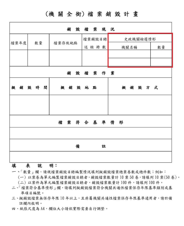 圖2 檔案銷毀計畫中史政機關檢選註記欄位