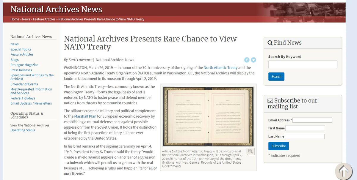 美國國家檔案暨文件署展出北大西洋公約檔案