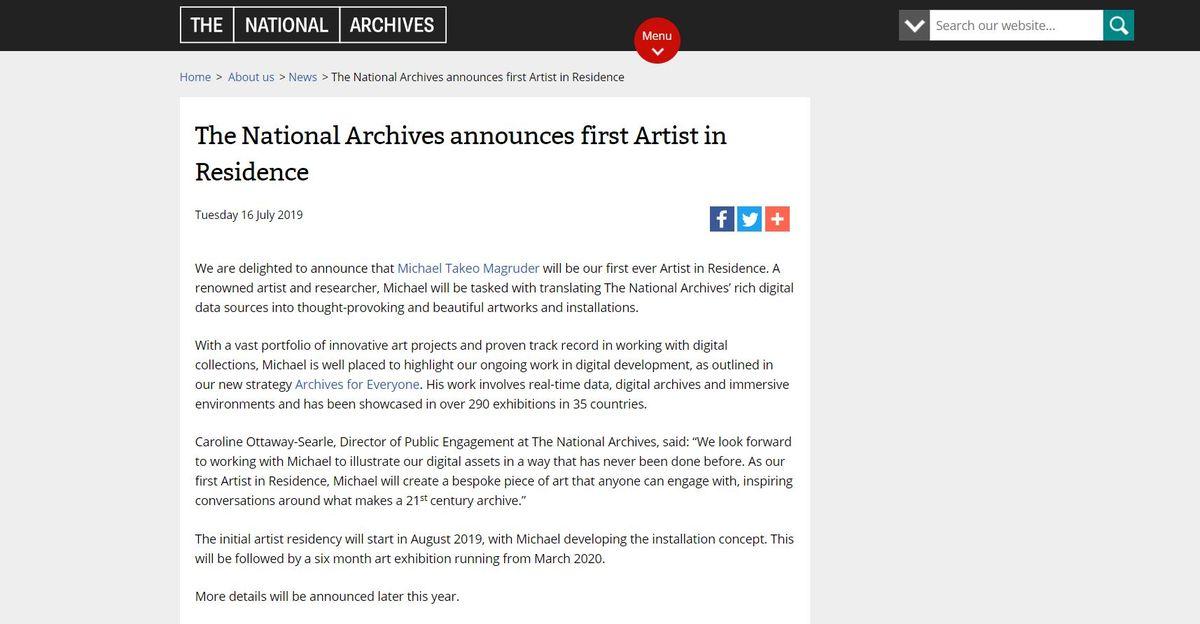 英國國家檔案館首位駐館藝術家