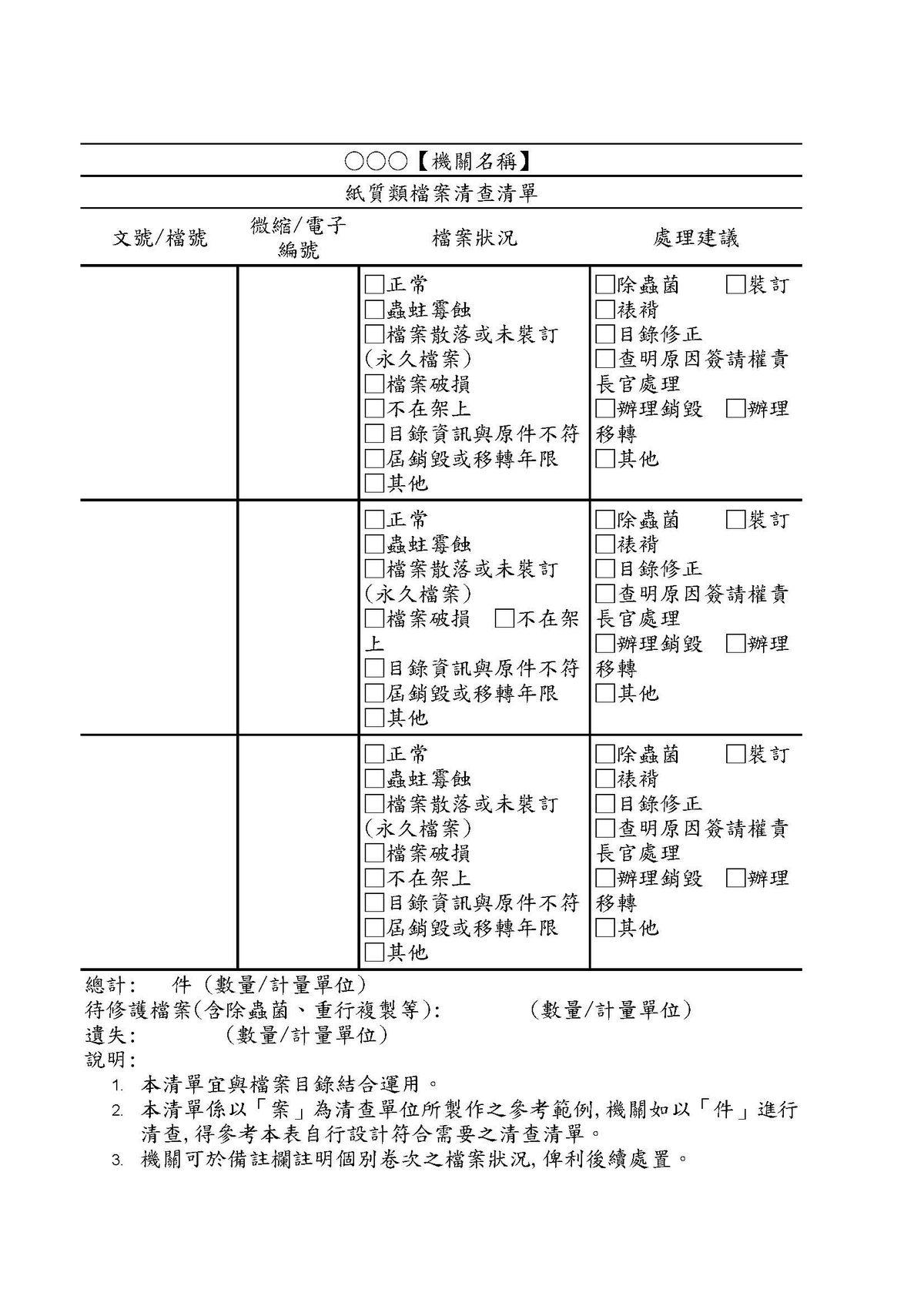 圖2 紙質類檔案清查清單