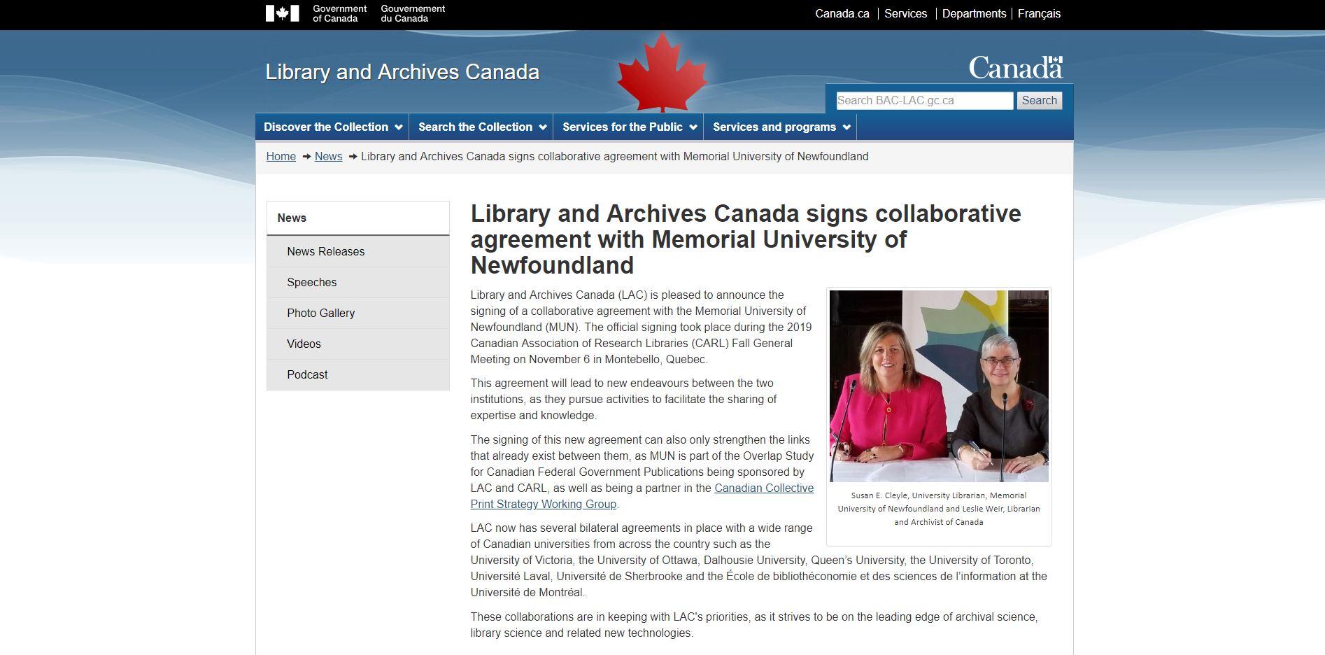加拿大國家檔案館和紐芬蘭紀念大學簽署合作協議