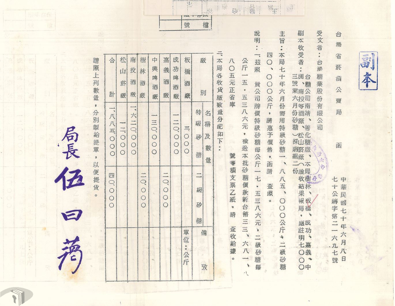 圖15 臺灣省菸酒公賣局函請台糖公司價售砂糖