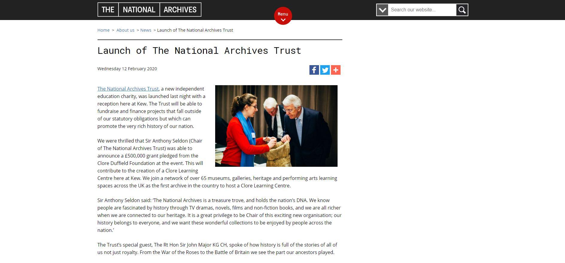 英國國家檔案基金會正式成立