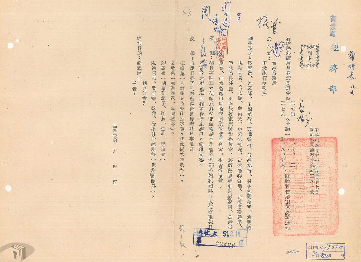 圖14 日本禁止臺灣鮮果、乾果、蔬菜與冷凍魚貝進口