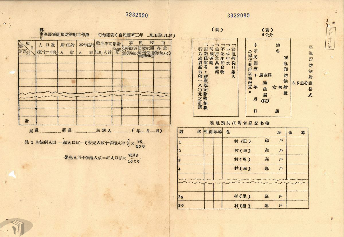 圖15 53年副霍亂預防注射