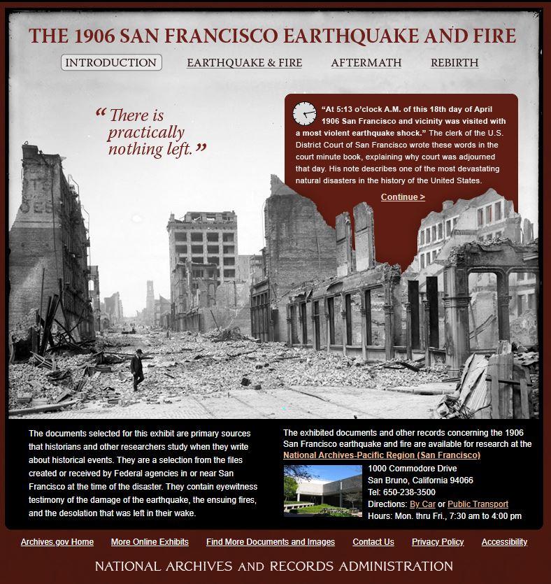 美國國家檔案館展出「1906年舊金山地震及火災」線上展