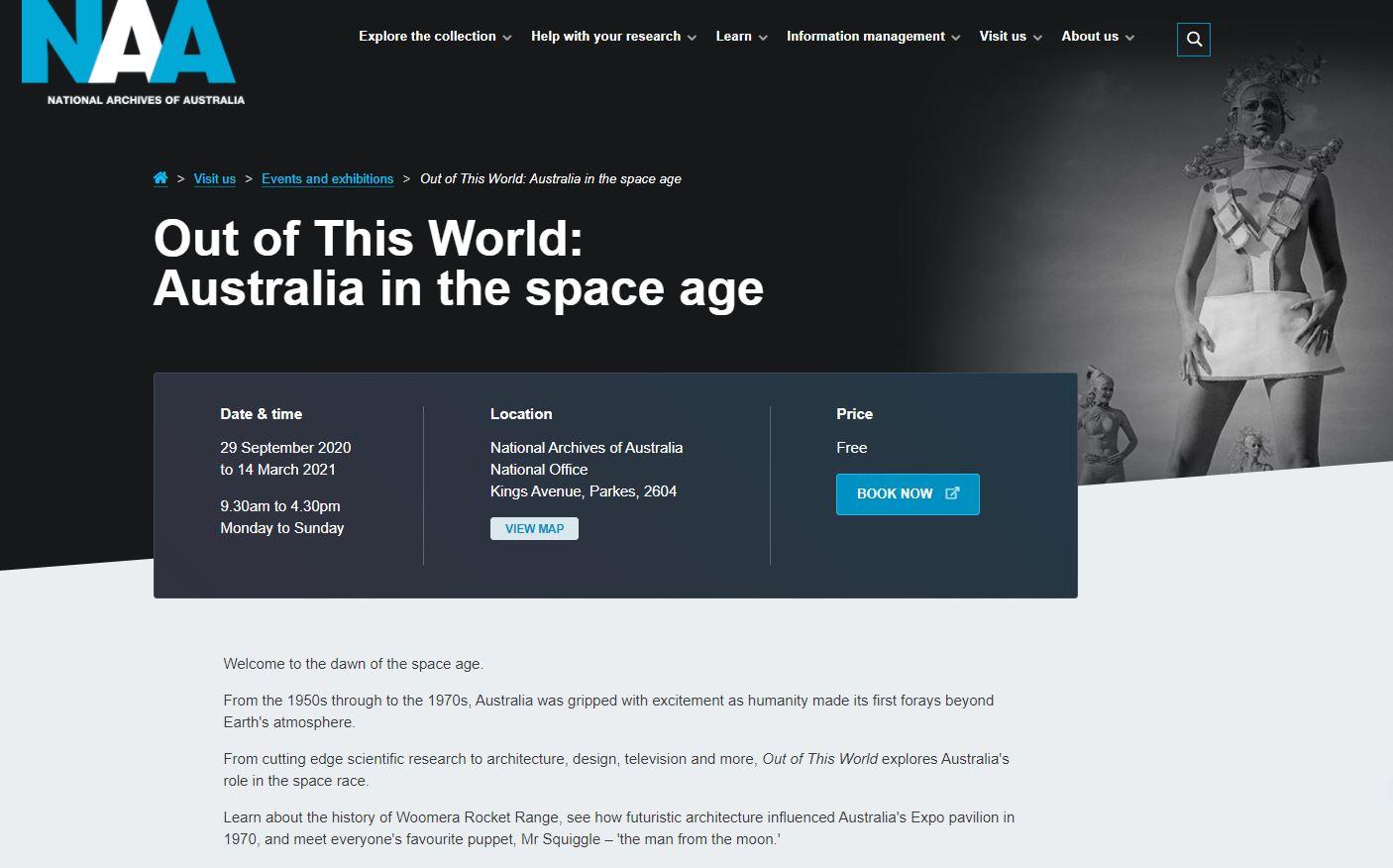 澳洲國家檔案館推出澳洲太空時代展