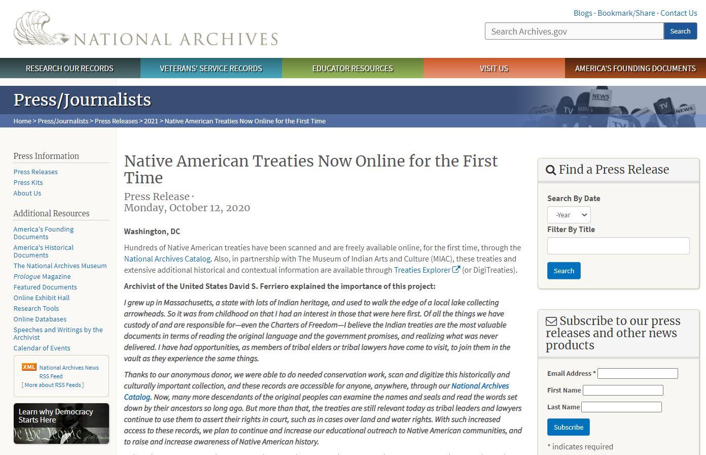 美國原住民條約首度上網