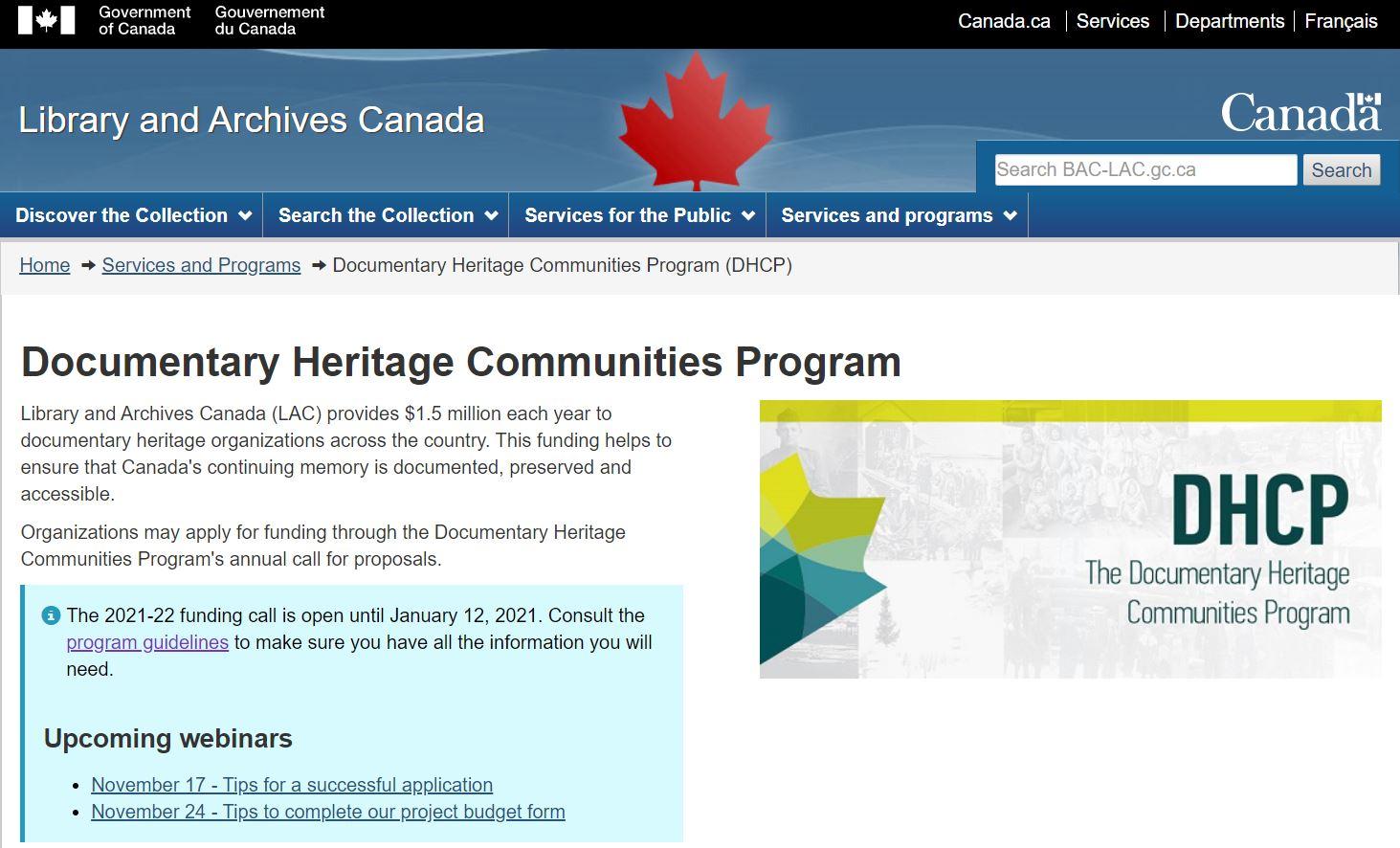 加拿大國家檔案館推出2021-2022年文獻資產社區計畫