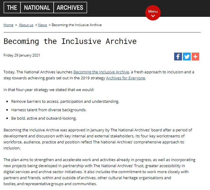 英國國家檔案館公布未來十年「成為兼容並蓄的檔案館」發展目標
