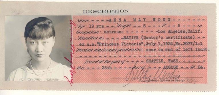 從首位華裔美籍女演員身分證一窺美國排華政策