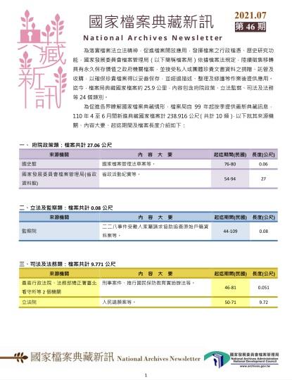 國家檔案典藏新訊第46期出刊