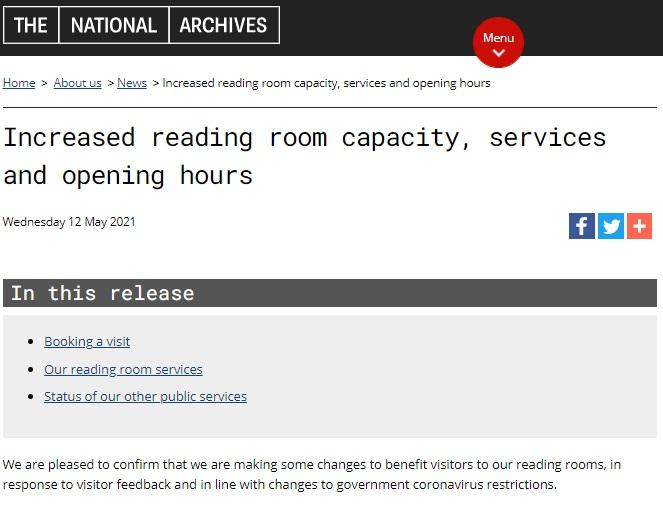 英國國家檔案館自即日起延長開館並恢復預約者餐飲服務