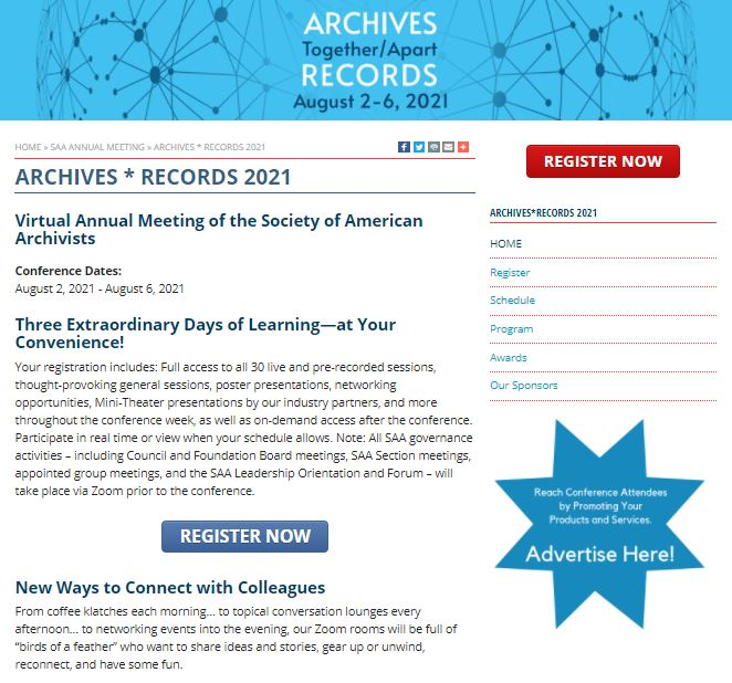 2021年SAA線上年會開放註冊!