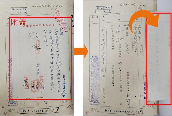 圖3 附簽加附於文件適當位置,不影響本文閱讀
